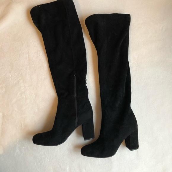 4c75b080839f Thigh high suede  velvet heel boots